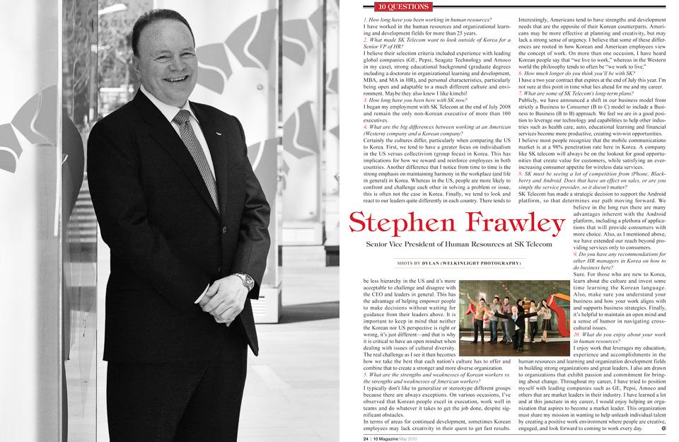 10 Magazine Korea - 10 Questions - Stephen Frawley