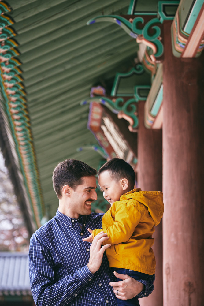 Father and son at Changdeokgung in the Winter