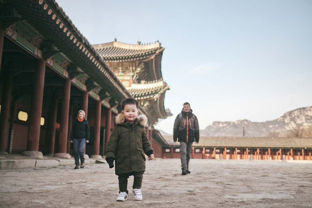 First family in the gate at Gyeongbokgung